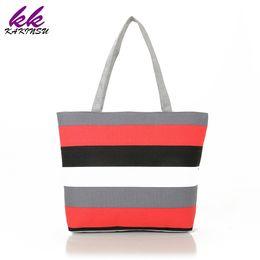 Wholesale diy bag handle - 2018 Women Canvas Shopping Bags Shopper Tote Holiday Beach Bag Zipper Eco Shoulder Versatile Sack Summer DIY Painting Handbag