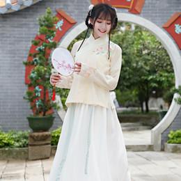 trajes hanfu Rebajas 2018 mujeres tradicionales de verano tang antiguo traje chino danza hanfu traje princesa dinastía ópera chino hanfu vestido