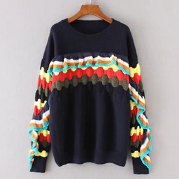 Wholesale Double Sided Sweater - 2017 autumn and winter women's wear European and American style the Occident side of the lotus leaf bump color style knit pullover sweater
