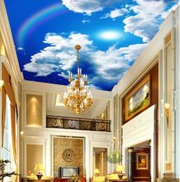 Wholesale Sun Moulds - 3d landscape wallpaper Fantasy 3d blue sky white clouds sun rainbow stars sky zenith frescoes wallpaper 3d modern