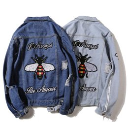 Wholesale Floral Jean Jacket - New Ripped 424 Denim jacket hip hop streetwear embroidery tiger bee loose men women unisex broken jean jackets,street couple denim jacket