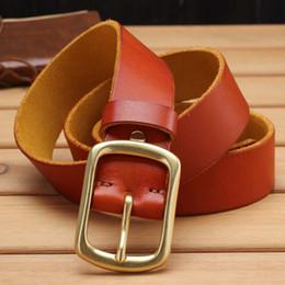 cinturones para hombre de cuero macizo Rebajas Hebilla de latón macizo correa de cuero real cinturones para hombres suaves de lujo 100% cuero genuino marrón de alta calidad 3.8 cm vaqueros elegantes