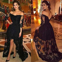 Wholesale Eveing Long Sleeve - 2018 Sexy Prom Dresses Long Black Lace Off the Shoulder High Low Back Illusion 34 Long Sleeves Formal Dresses Party Eveing Wear