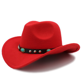 2020 cappelli da cowboy occidentali Moda Donna Lana Hollow Western Cappello da cowboy Roll-up Wide Brim Lady Jazz Sombrero Hombre Cowgirl Cap con cintura Punk Taglia 56-58cm sconti cappelli da cowboy occidentali