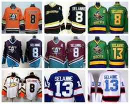 2019 camisetas de la serie del estadio Anaheim Ducks 8 Teemu Selanne Jerseys Hockey sobre hielo Serie del estadio Vinatge Equipo de moda Color Negro Blanco Rojo Verde Naranja Púrpura rebajas camisetas de la serie del estadio