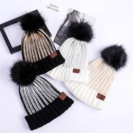 2018 Fashion Knitted Cap Autumn Winter women Cotton Warm Hat CC Skullies  Brand Heavy Hair Ball Twist Beanies Solid Color Hip-Hop Wool Hats bffd6e73322a