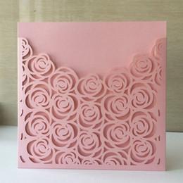 свадебные платья Скидка Лазерная резка Перл бумаги Крещение Поздравительная открытка благословение цветок роза дизайн свадебное приглашение открытка