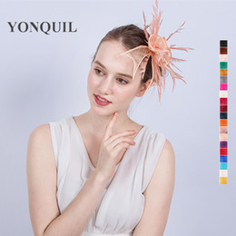Wholesale Diy Fascinator Hats - 21 Colors Feather DIY sinamay flower Fascinator Hat with hair clips wedding hair accessories ladies new year party hats SYF148