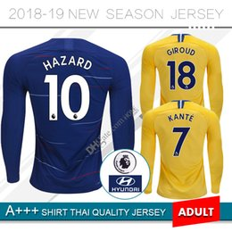 Uniformes amarelos on-line-# 10 PERIGO Manga Longa Casa azul Camisa de Futebol 18 19 # 22 WILLIAN camisa de futebol de Manga Completa 2019 # 7 KANTE longe uniformes de Futebol amarelo