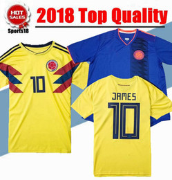Wholesale Colombia Shorts - 2018 World Cup Colombia home yellow soccer jersey 17 18 away blue FALCAO JAMES CUADRADO TEO BACCA football shirts National team