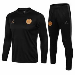 Jerseys de fútbol online-Traje de entrenamiento de fútbol de alta calidad 2018 PSG manga larga MBAPPE CAVANI jersey 17 18 19 maillot de foot uniforme de fútbol de París ropa deportiva