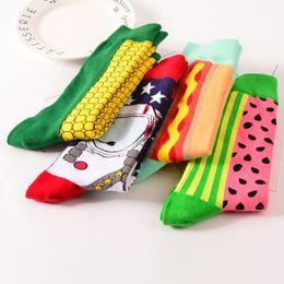 Wholesale Cotton Crew Socks For Women - Hot Colour Crew Cotton Happy Socks Men Women British Style Casual Harajuku Designer Brand Novelty Art For Couple Funny