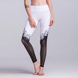 Wholesale Plus Size Mesh Leggings - Sexy New Mesh Leggings Women Black White Splicing Print Sporting Legging Slim Pants Plus Size Elastic Push Up Leggins Dropship