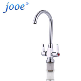 Wholesale Kitchen Faucet Light Chrome - jooe brass Kitchen Faucet Dual Holder Single Hole for Kitchen Sink hot and cold Mixer water Tap Chrome plating robinet