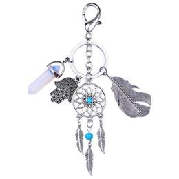 Кварцевый брелок онлайн-Vintage Dream Catcher Keychain Quartz Stone Natural Stonekeyring Bohemian Women Tassels Feather key chains Shellhard