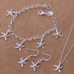 insieme degli orecchini della collana della stella Sconti gioielli di lusso set donne moda orecchino e collana carino gioielli in argento set stella marina collanaBraceletEarring Set per le donne AT080-082