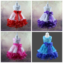 Wholesale Sequins Embroidery For Kids - sleeveless girls bowknot tutu layer dress flower sequins embroidery dress for girl kid wedding dress prom dresses