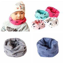 Wholesale Baby Girl Camo - Autumn Winter Children Scarf Baby Girl Boy Camo Cat Anchor Pattern Warm Collar Scarves Lovely Kids O Ring Neck Scarf