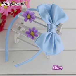 Wholesale Hair Stain - Babymatch 8pcs lot 4.5'' Stain Ribbon Hair Bows Covered Baby Girls hair band Kids Infant Headbands Children Bow Accessories