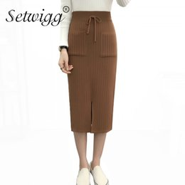 e752ae5849f knitting strings Promo Codes - Autumn Pockets Rib Knitted Pencil Skirts  Sexy Front Split Waist Draw