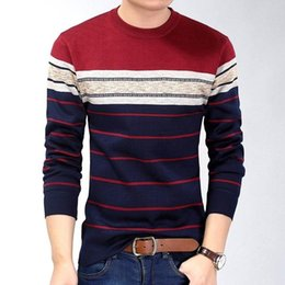 Wholesale Fitness Sweaters - 2018 fashion casual clothing social fitness bodybuilding striped t shirts men t-shirt jersey tee shirt pullover sweater camisa