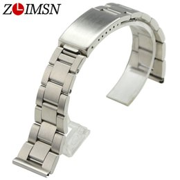 Wholesale watch flat - ZLIMSN Stainless Steel Watchbands Replacement Silver 18mm 19mm 20mm Brushed Sport Watch Bracelets Flat End Deployment Clasp
