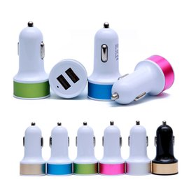 Wholesale Iphone5 Car - Dual USB Car Charger Adapter Metal 2 Ports Travel Adapter Cell Phone Chargers For Iphone5 6 6 Plus Samsung