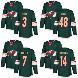 Wholesale Cheap Wild Hockey Jerseys - Cheap 2018 New Brand Ad Mens Minnesota Wild Joel Eriksson Ek 3 Charlie Coyle 48 Sam Anas Matt Cullen Green Custom Hockey Jerseys