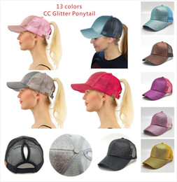 Wholesale Letter Beanie - 13 color CC Glitter Ponytail breathable mesh baseball cap men's ladies bag summer truck Gorras shiny gold shining ladies hat