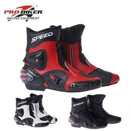 PRO-BIKER HıZ BISIKLETÇILERI Motosiklet Çizmeler Aşınmaya dayanıklı Mikrofiber Deri Yarış Motocross Motosiklet Sürme Orta Buzağı Çizmeler Ayakkabı nereden ayakkabı askı perçinleri tedarikçiler