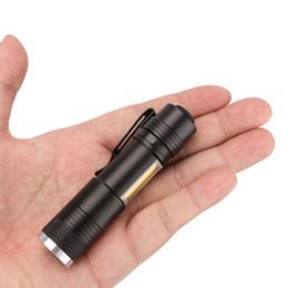 Linterna led aa baterias online-Mini linterna portátil de bolsillo COB LED 4 modos de iluminación Linterna Lámpara antorcha con zoom Linterna a prueba de agua AA o 14500 Batería