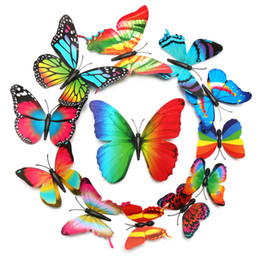 Wholesale Blue Fantastic - Fantastic 12pcs lot Single Layer Wings Raninbow Butterflies 3D Cinderella Butterfly Decoration with Magnet Removable Wall Stickers