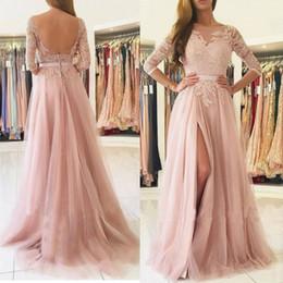 386e73ff3b04 2019 Pink A Line Prom Dresses Bateau Backless Pearl Chiffon Maniche lunghe  Pizzo Abito da sera Abiti da sera economico vestiti da sera lunghi del  manicotto ...