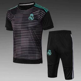 cd8b131dd Top quality 2018 2019 Real Madrid white black short-sleeved shorts RONALDO  KROOS BENZEMA new football sportswear suit men s training clothes