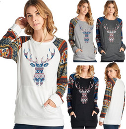 b07eb73f243 Christmas Reindeer Women Hoodies Xmas elk Print Sweatshirts Long Sleeves t  shirts Winter Autumn Pullover Tops plus size women clothes DHL
