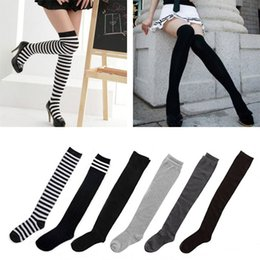 Wholesale gray cotton thigh high socks - Women's Cotton Sexy Thigh High Over The Knee Socks Long Stockings For Ladies JL