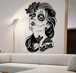 Wholesale tattoos for wall - Day of the Dead Wall Decal ROSES GIRL Vinyl Sticker Art Decor Home Bedroom Design Mural interior sugar skull living room tattoo
