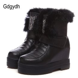 Wholesale calf height boots - Gdgydh Real Fur Snow Boots Women Sexy Crystal 2017 New Winter Shoes Platform For Woman Height Increasing Ladies Boots Plush Warm