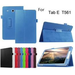 Кожа таблетки галактики онлайн-Личи PU кожаный чехол смарт-чехол для Samsung Galaxy Tab E 9.6 T560 T561 tablet чехол защитная оболочка кожи сумка + ручка