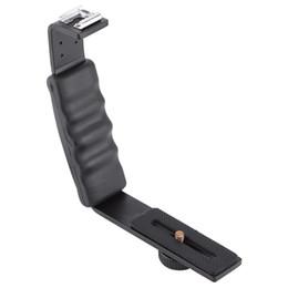 Wholesale camera flash mounting brackets - Photography Video Flash Camera L Bracket Holder With 2 Standard hot shoe Mount