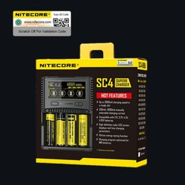 Wholesale Nitecore Aa - NITECORE SC4 Intelligent Faster Charging Superb battery Charger with 4 Slots 6A Total Output Compatible IMR 18650 14450 16340 AA Battery