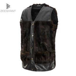 Wholesale Thin Fur Vest - Zeeshant New Fashion Male Men's Winter Sleeveless Vest Slim Faux Fur Vest Warm in Men's Vests & Waistcoats XXXL