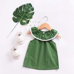 Wholesale Soft Dress Girls Kids - 2018 summer NEW arrival Girls Kids sleeveless ruffles collar solid color dress kids girl casual dress soft comfortable dress