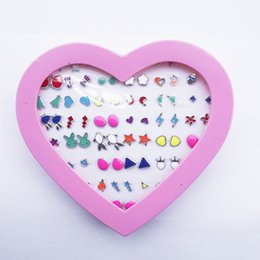 Wholesale Small Stud Earrings Animals - 36pairs lot Mix Colors & Styles Cute Enamel Animals Plants Small Stud Earrings For Women Children Girls Cheap Jewelry