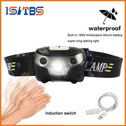 Wholesale Headlamp Waterproof - Mini Rechargeable LED Headlamp 4000Lm Body Motion Sensor Headlight Camping Flashlight Head Light Torch Lamp With USB