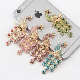 Wholesale Peacock Diamond Ring - Diamond Peacock Metal Ring Phone Holder with Stand Unique Cell Phone Holder Fashion for iPhone 7 Plus Universal All Cellphone holder