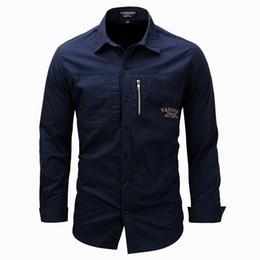Wholesale Fit Zip - Men Zip Shirt Military Shirts Long Sleeve Cotton Shirts Slim Fit Tops Turn Down Collar 2018 Free Shipping Army Green Khahi