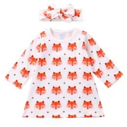 ba344f742a26f 0-18M 2Pcs Newborn Infant Kid Baby Girls Cute Fashion Cotton Fox Print Long  Sleeve O-neck Dress Headband Child Outfits Clothes