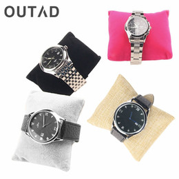 Wholesale velvet watch holder pillows - OUTAD Linen Bracelet Bangle Watch Pillow Holder For Jewelry Watches Case Box Velvet & Cotton Jewelry Packaging & Display 2017