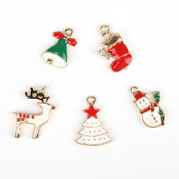 Wholesale Bell Shoes - Hot Sale 5pcs Mix Style Lovely Enamel Drip Metal Alloy Christmas Bells Deer Hat Shoes Tree Charm Pendant For DIY Fashion Jewelry